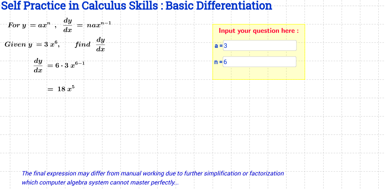 Basic Differentiation Self Practice Sheet