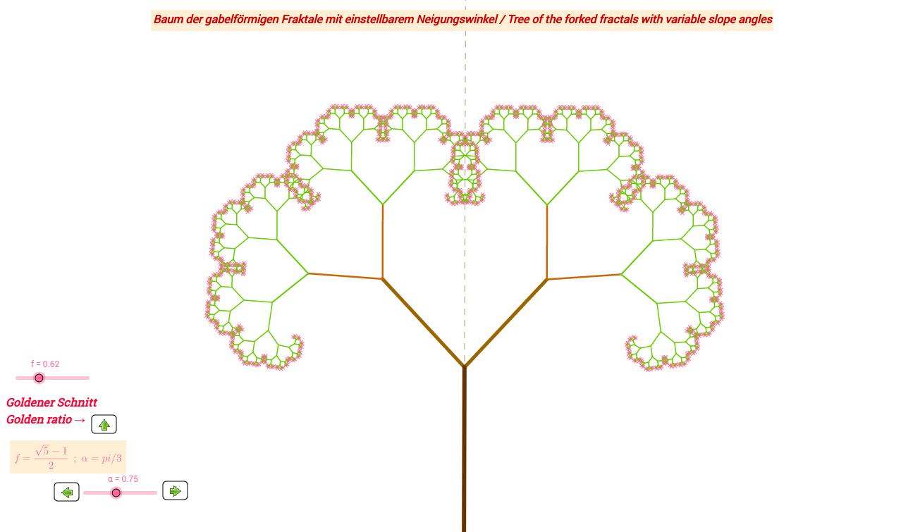 Baum gabelförmiger Fraktale mit variablem Neigungswinkel