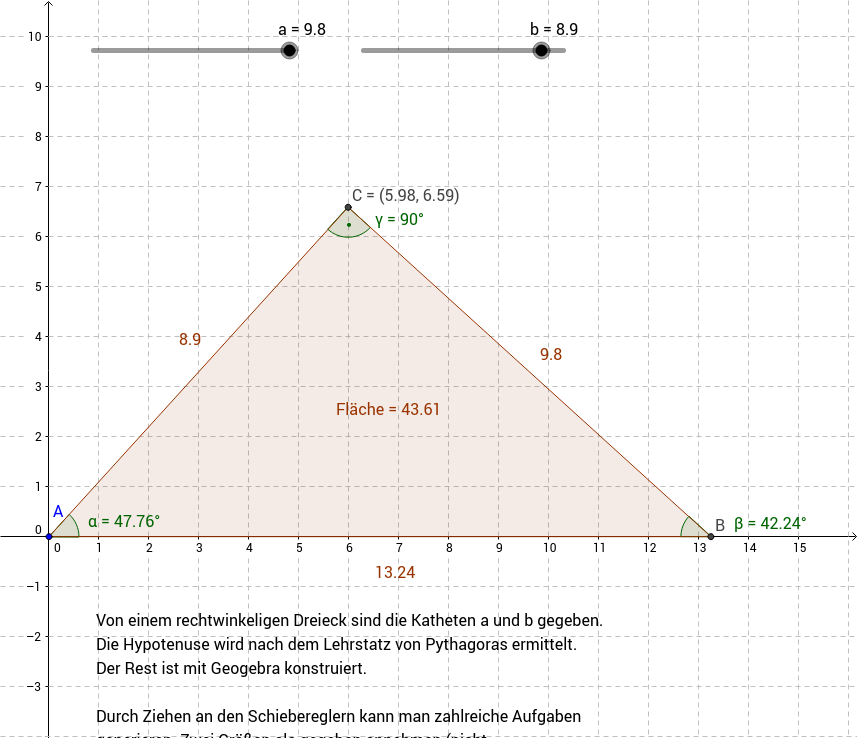 Rechtwinkeliges Dreieck - grundlegende Aufgabe