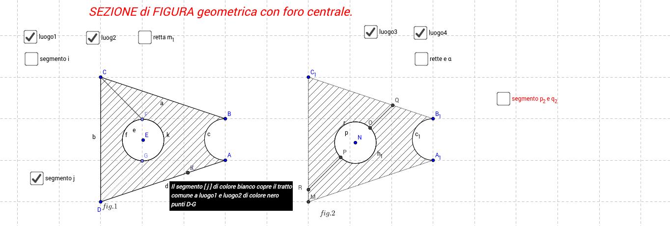 2D -  sezione figura geometrica con foro centrale