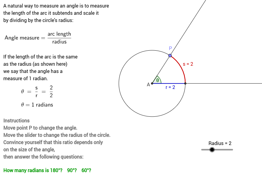 Measuring angles using radians GeoGebra – Angle Measure Worksheet