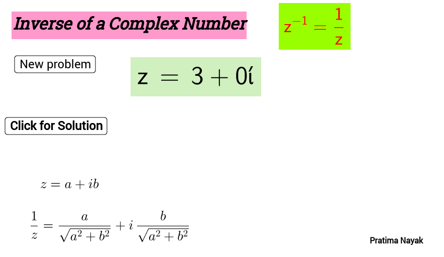 Multiplicative Inverse of a  complex number