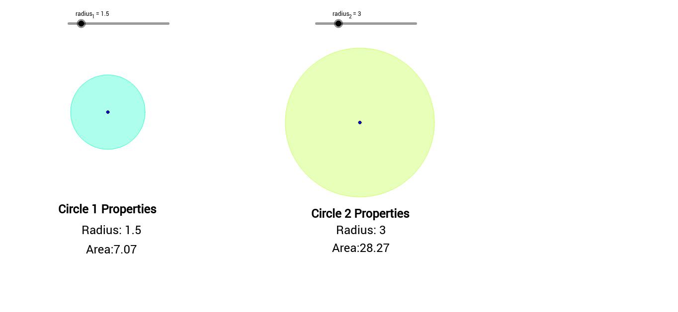 worksheet Properties Of Circles Worksheet circle area comparison geogebra view worksheet