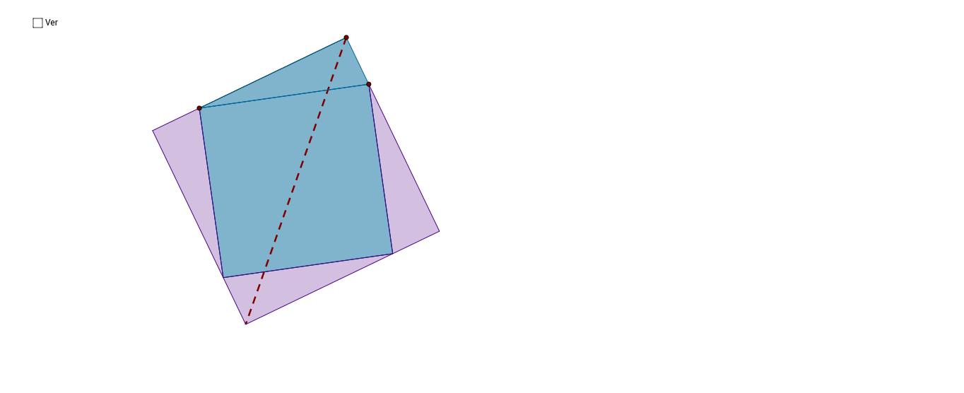 La bisectriz de un ángulo recto divide al cuadrado en dos