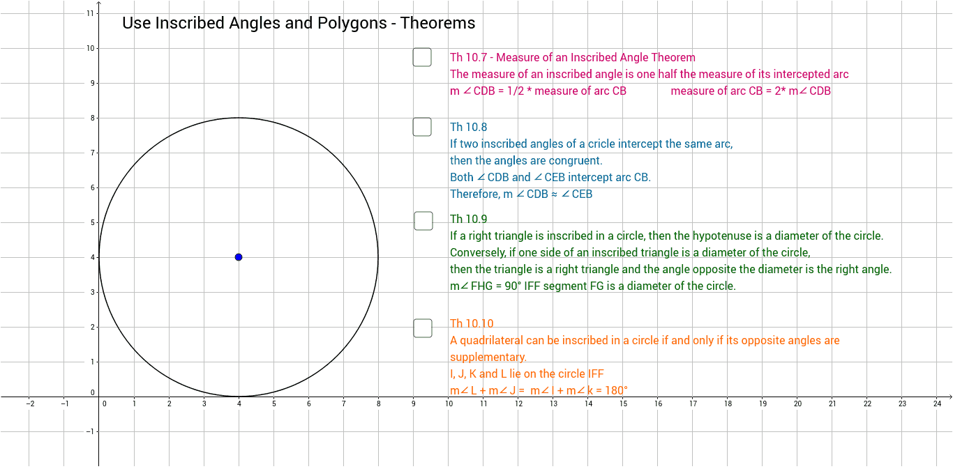 104 Use Inscribed Angles and Polygons Theorems GeoGebra – Angles in Polygons Worksheet