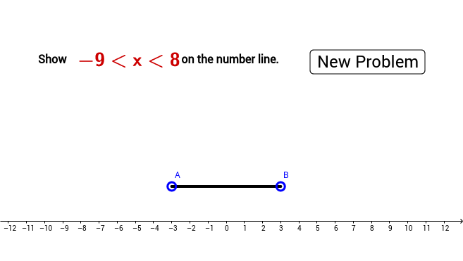 Number line interval { a < x < b, [-12,12]}