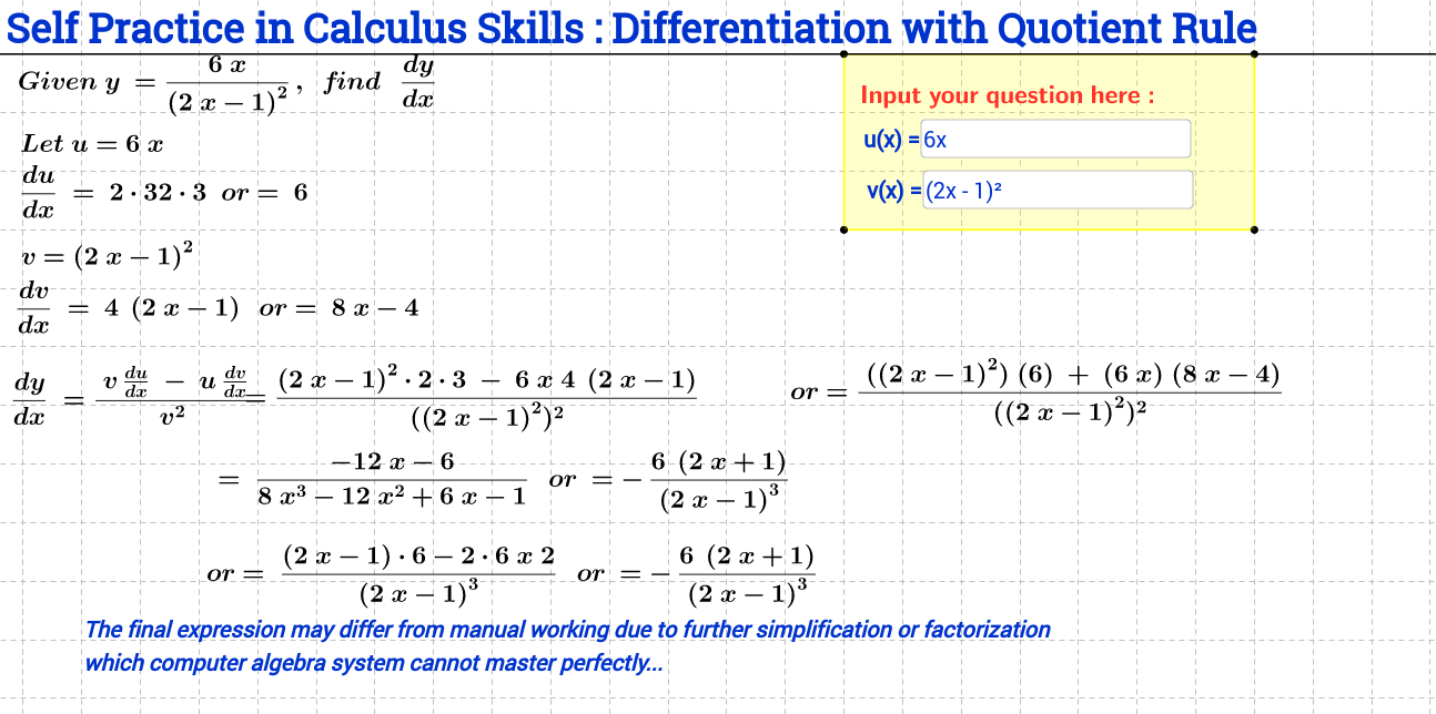 worksheet Differentiation From First Principles Worksheet differentiation beginning calculus geogebra using quotient rule self practice sheet