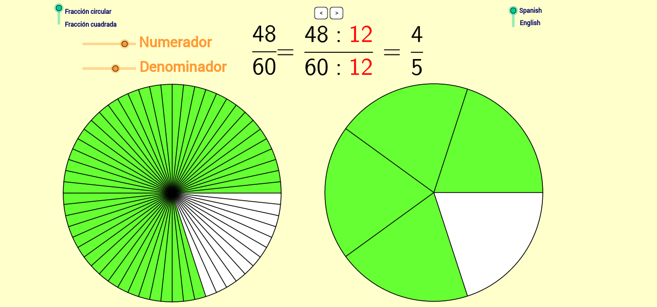 Simplificación de fracciones. Reducing Fractions.