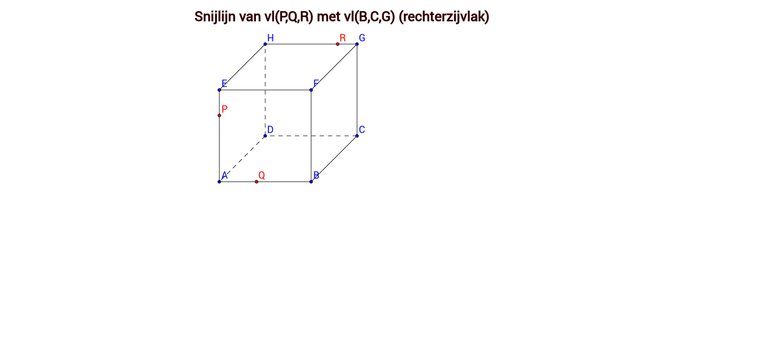 Snijlijn twee vlakken - Klaswerk oefening 3 - kubus 3