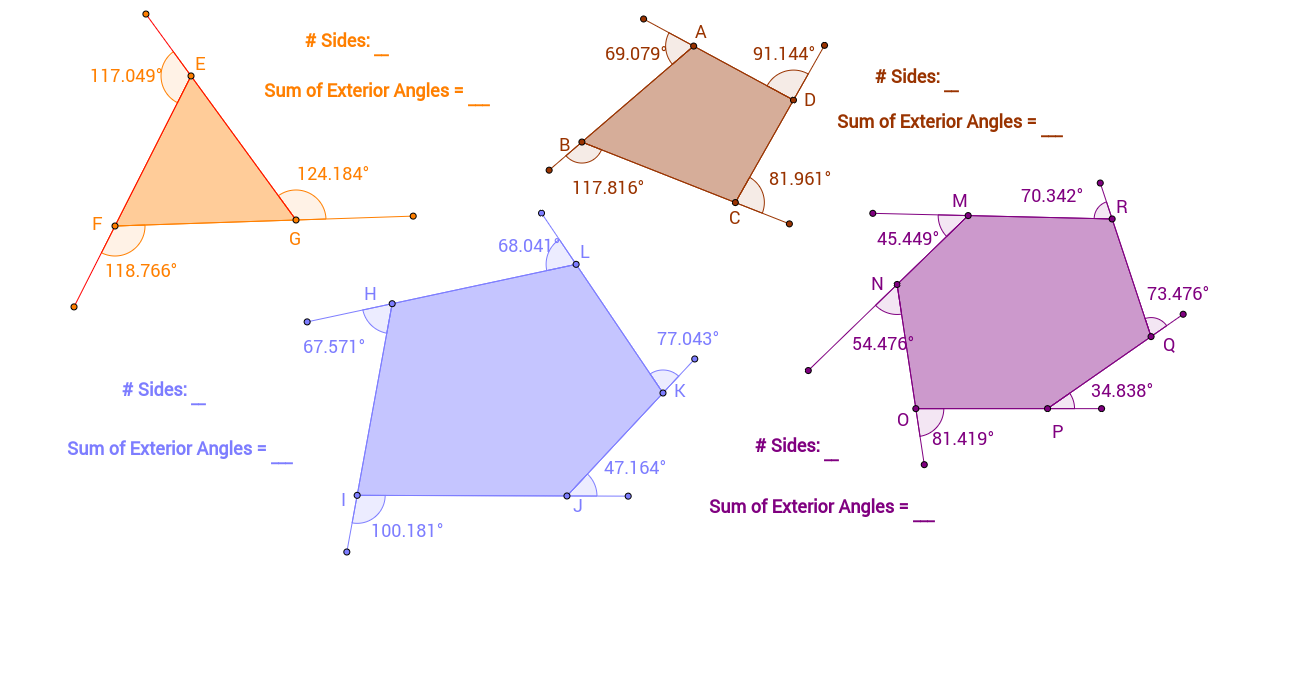 Exterior angles of polygons geogebra What do exterior angles of a triangle add up to
