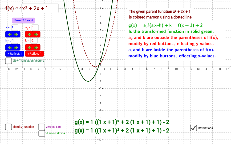 Transformations any given Function GeoGebra – Algebra 2 Transformations Worksheet