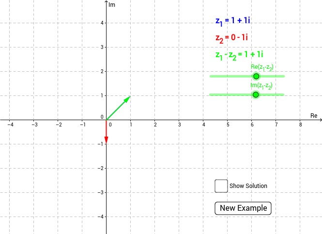 Substraction of complex numbers