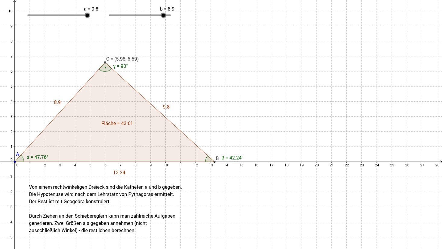 Grundaufgabe zum rechtwinkeligen Dreieck