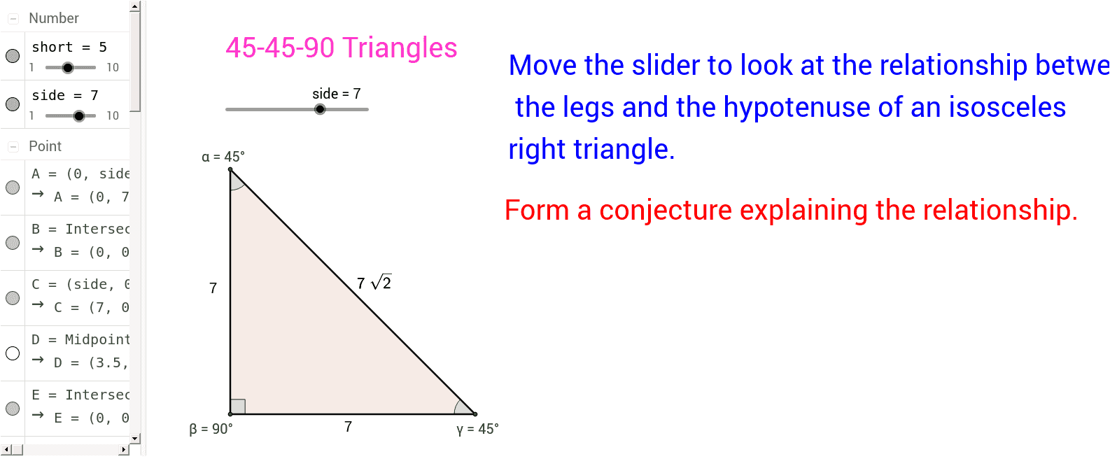 worksheet 30 60 90 Triangle Worksheet project 3 special right triangles geogebrabook triangles