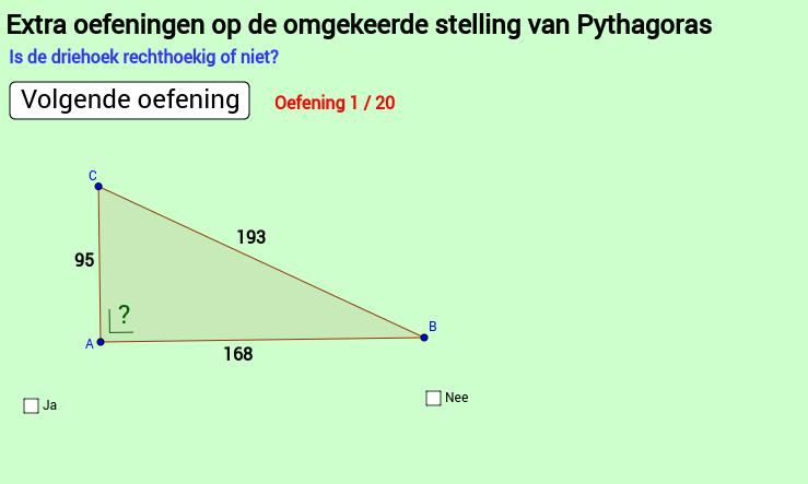 Extra oef 1 Pythagoras