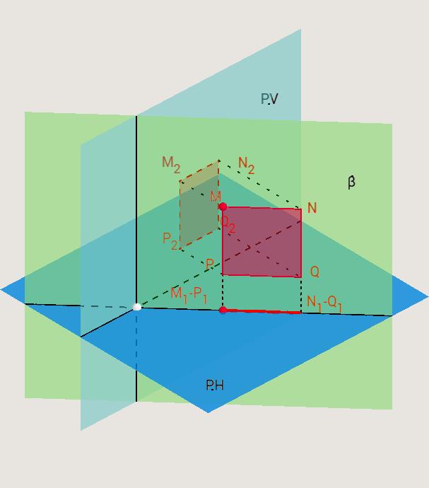 Figura plana contenida en P. Proyectante (3D)