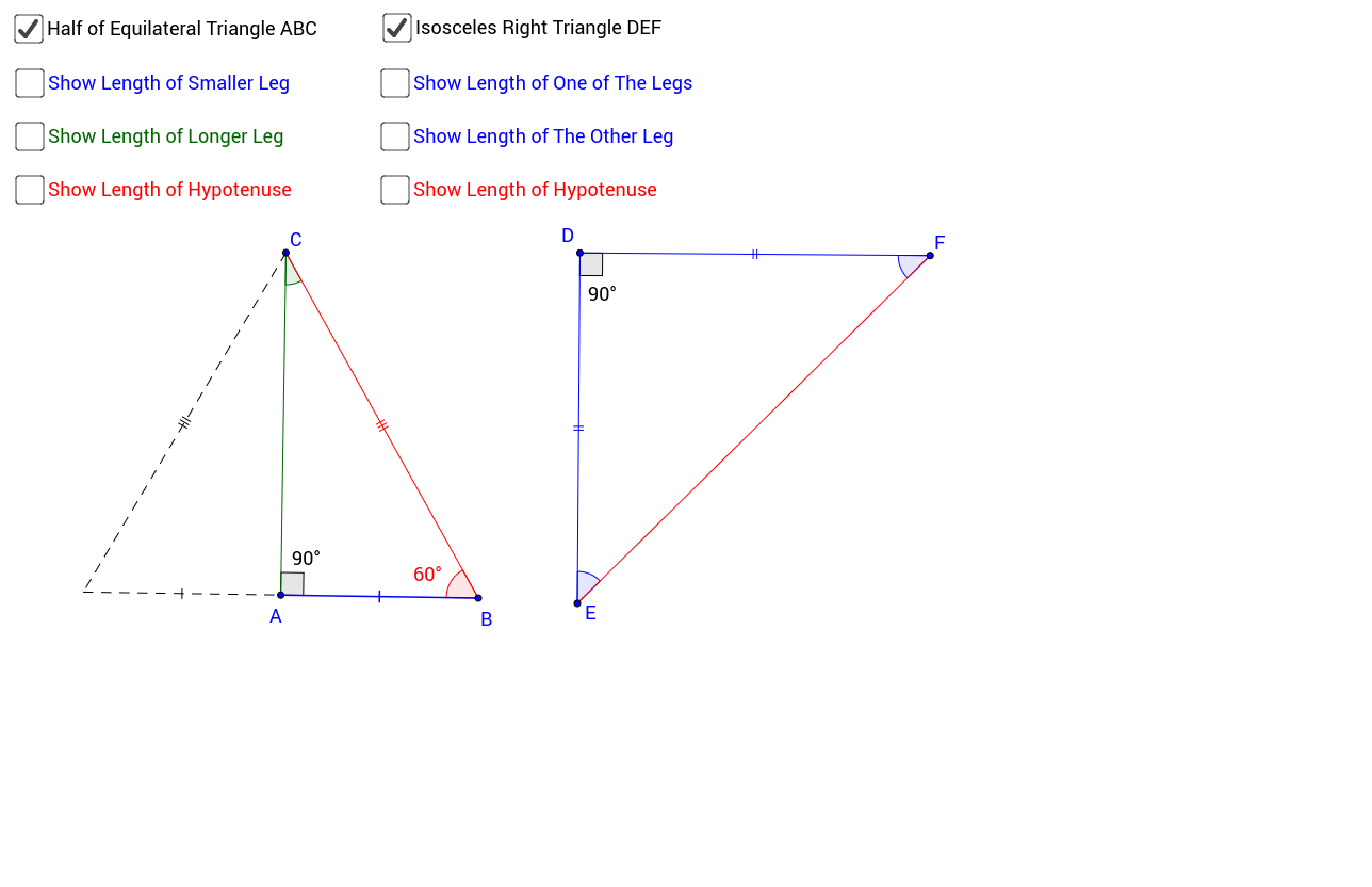 Worksheets Special Right Triangle Worksheet special right triangles geogebra