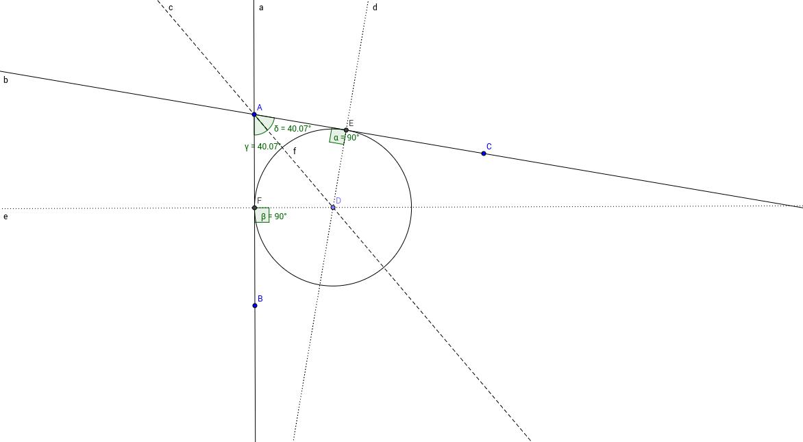 M رسم دائرة محصورة داخل مماسين يلتقيان بالنقطة
