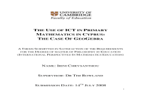 The use of ICT in primary mathematics in cyprus