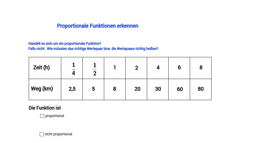 Proportionale Funktionen erkennen, Teil 7