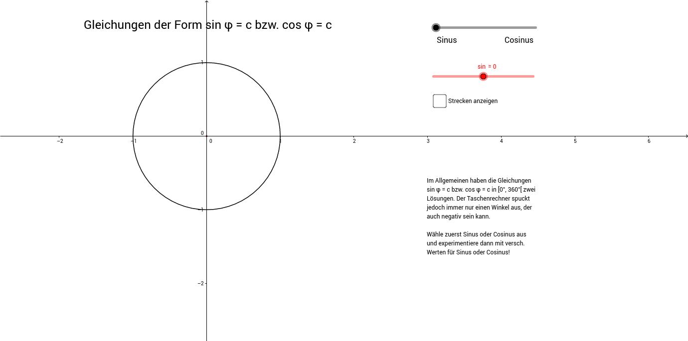 Gleichungen Form sin(x)=c bzw. cos(x)=c