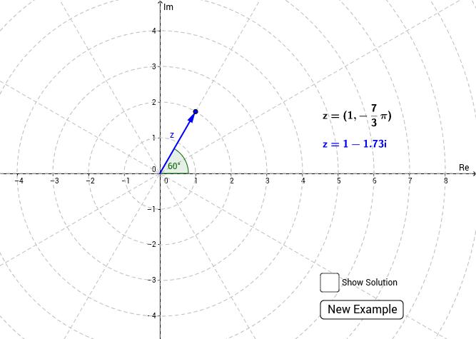 Polar coordinates of complex numbers