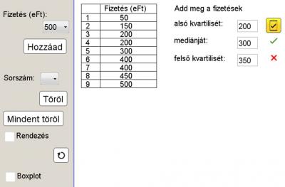 A medián és a kvartilisek gyakorlása megadott adatok alapján