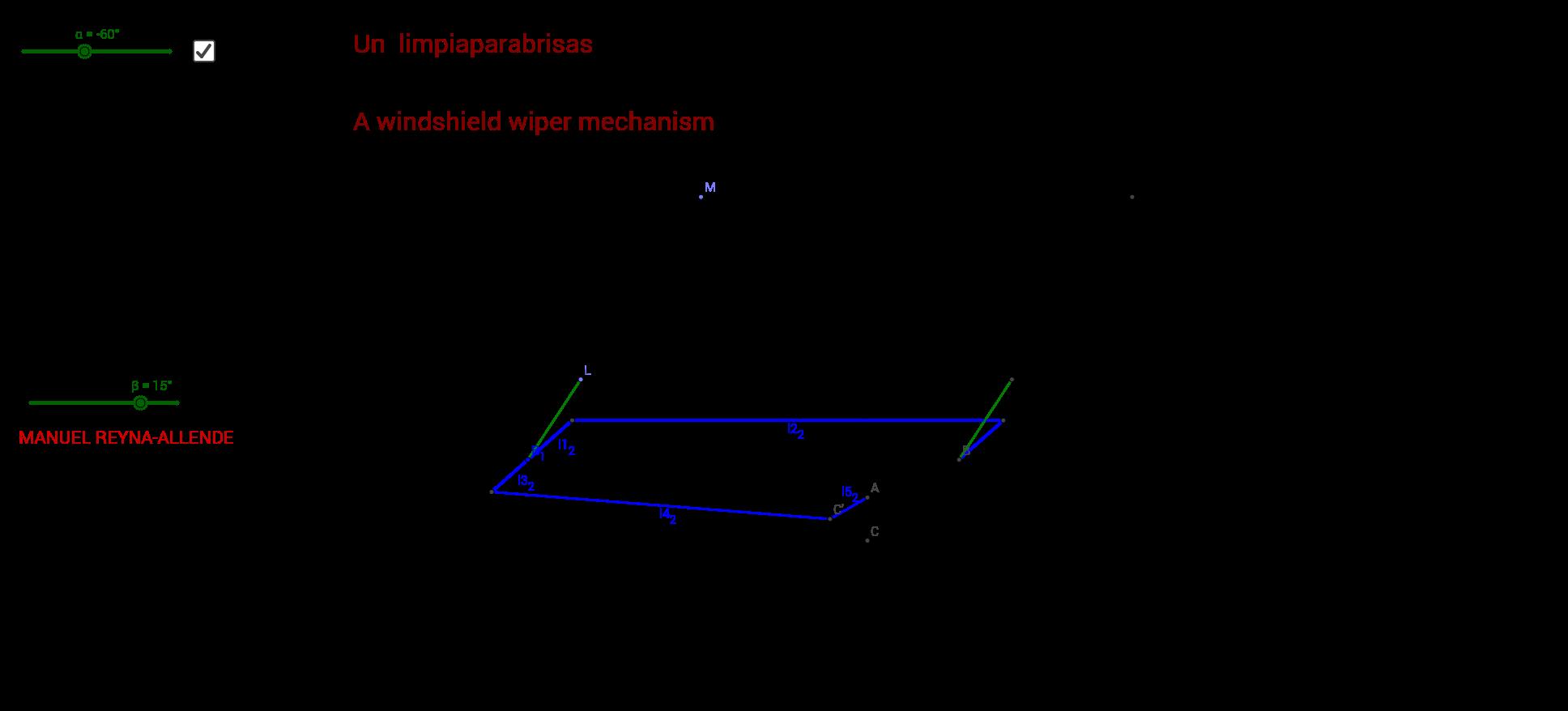 A windshield wiper mechanism ( Un  limpiaparabrisas)