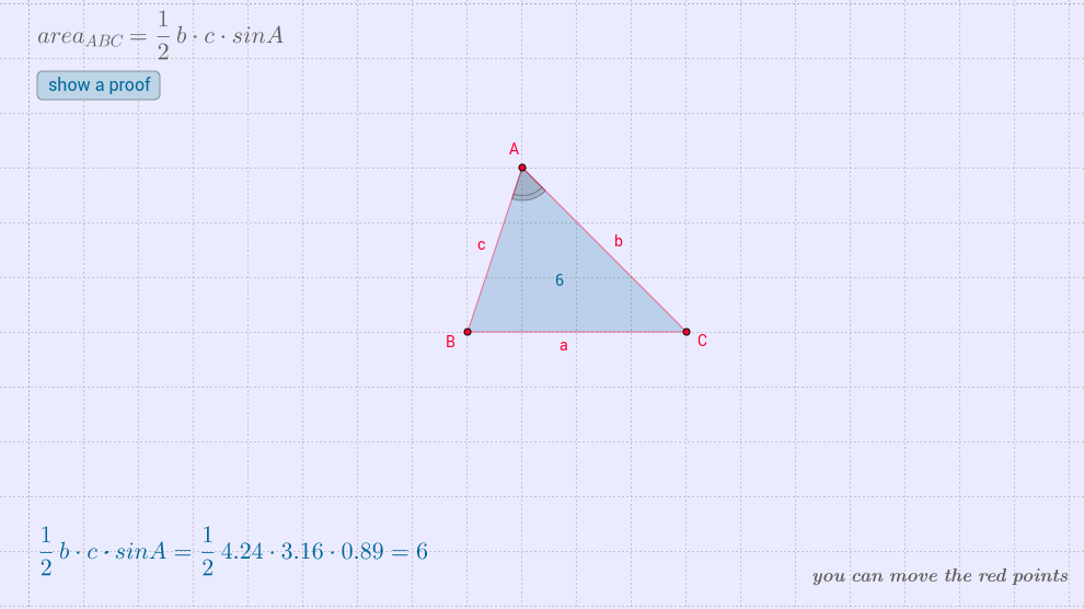 area of a triangle (sas)