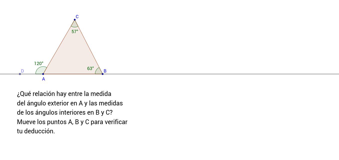 Ángulo exterior en un triángulo cualquiera