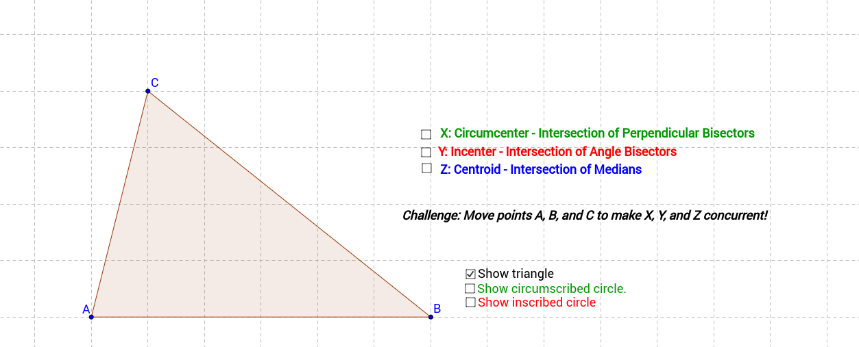 Incenters, Circumcenters, and Centroids