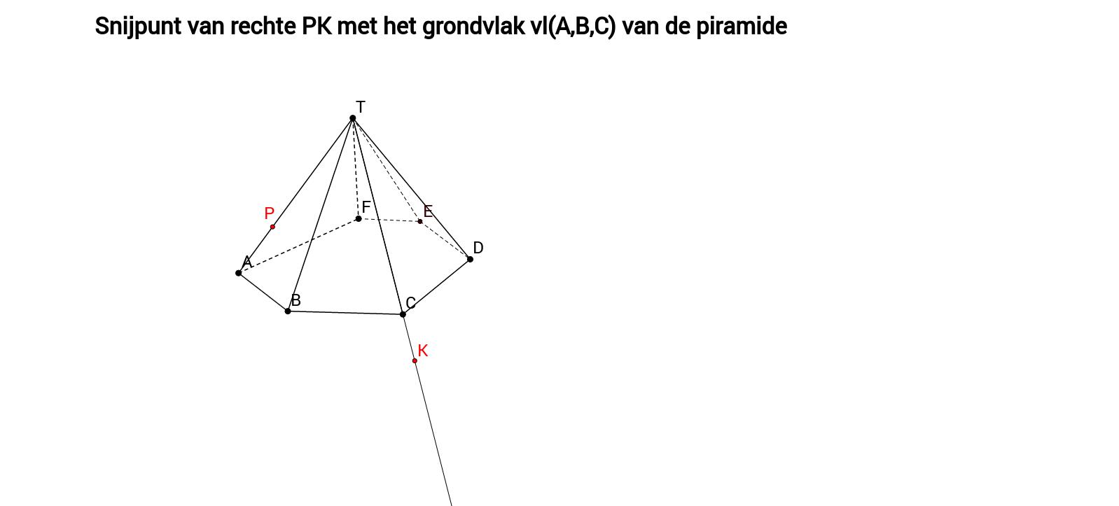 Snijpunt van rechte PK met het grondvlak van piramide