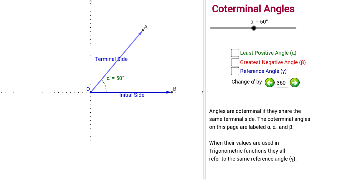 Defining the Coterminal Angle GeoGebra – Reference Angles Worksheet