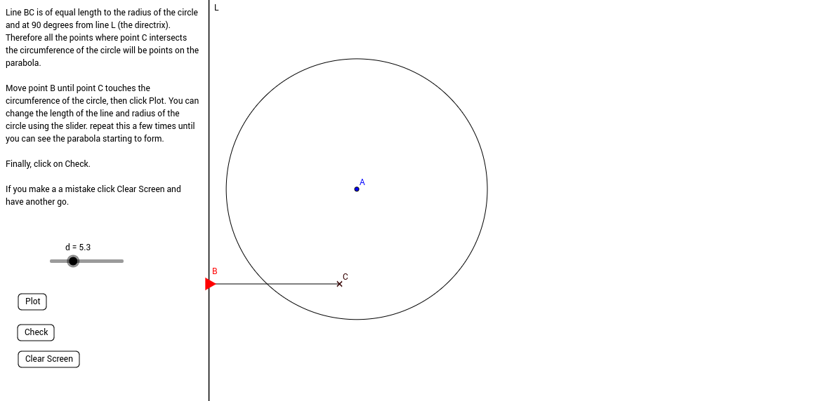 Constructing Parabolas using a circle and straight line