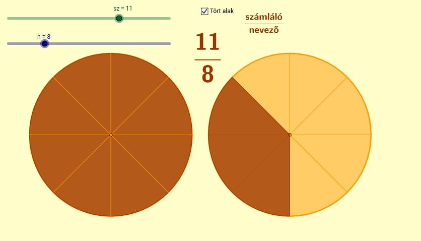 Törtek szemléltetése (Demonstrating fractions)