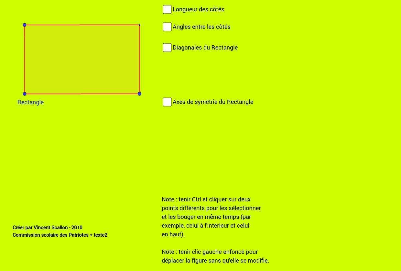 Propriétés du rectangle
