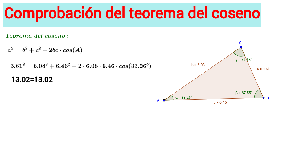 Comprobación del teorema del coseno