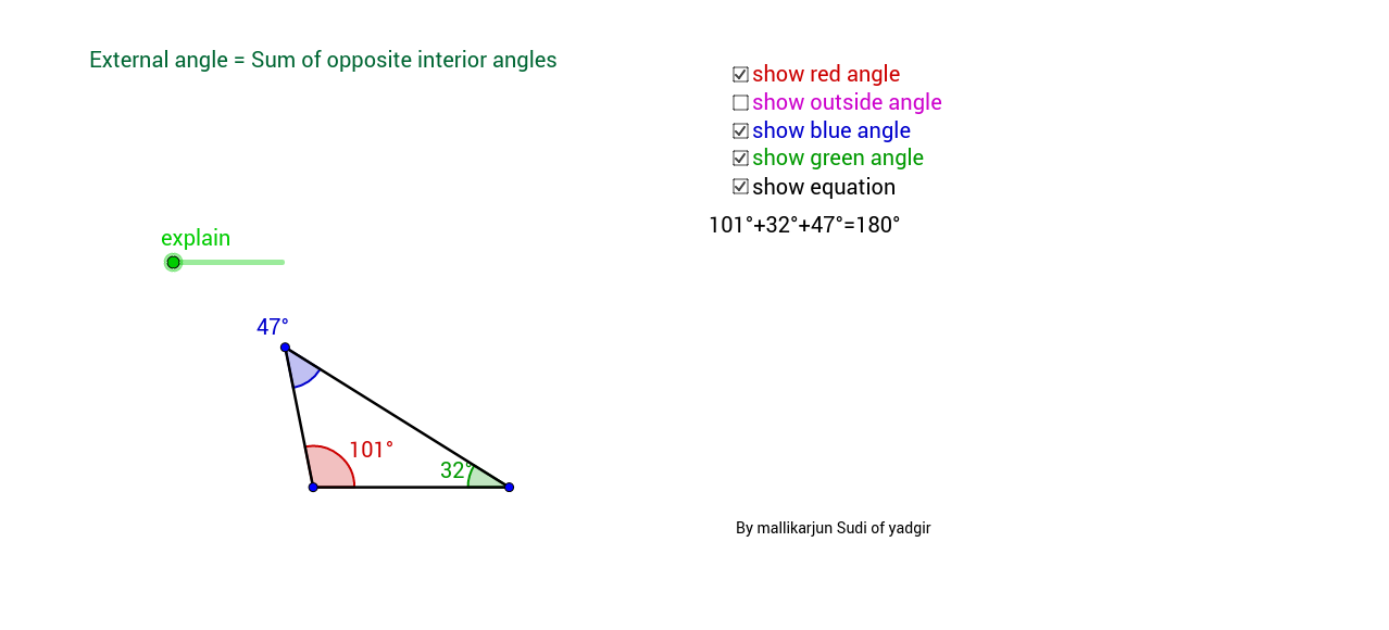 External angle theorm of a triangle