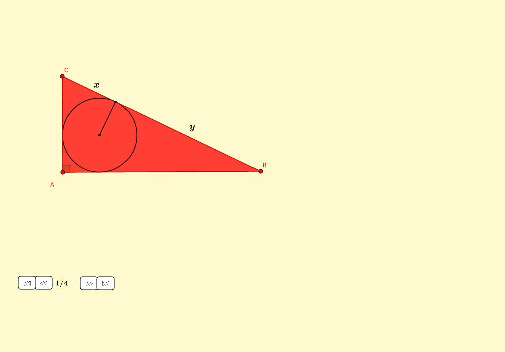 Área de un triángulo rectángulo mediante el inradio