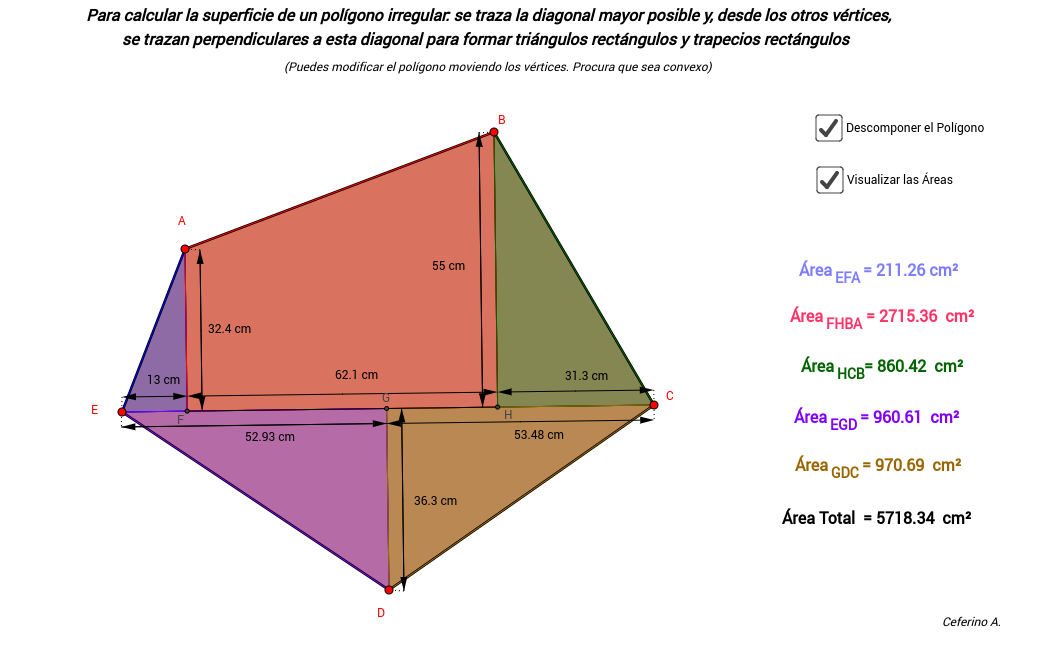Área de polígonos irregulares