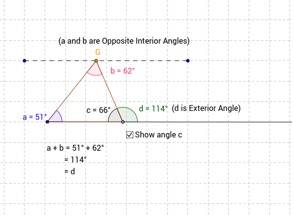 Exterior angle theorem geogebra - The exterior angle of a triangle is equal to ...