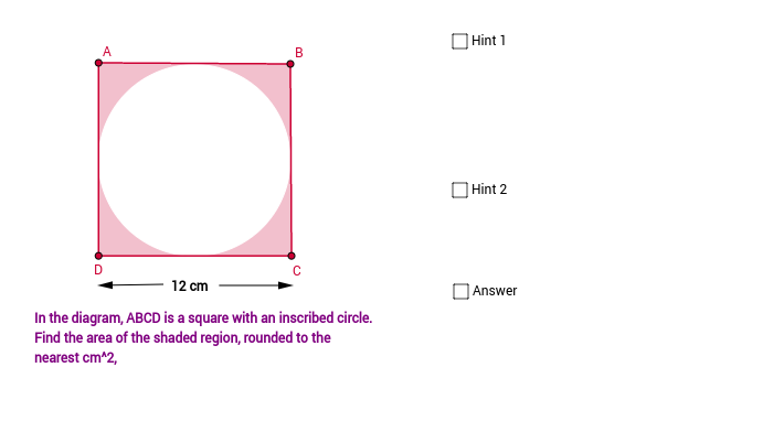 Finding the area of a shaded region GeoGebra – Area of Shaded Region Worksheet