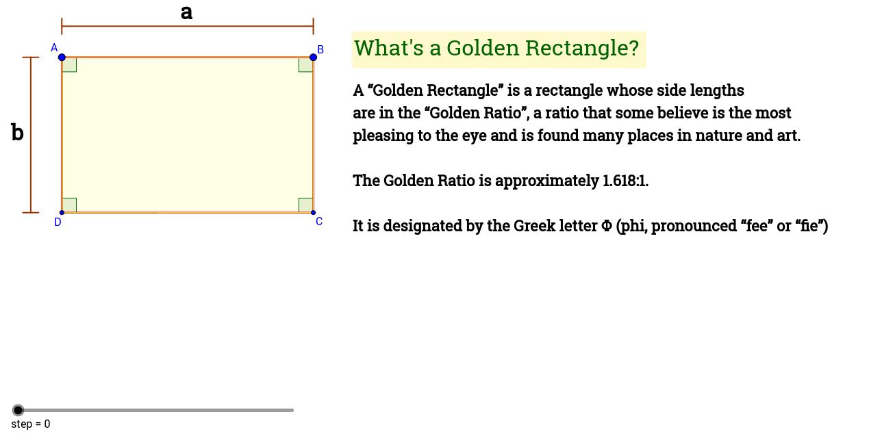 golden rectangle ratio defined geogebra. Black Bedroom Furniture Sets. Home Design Ideas