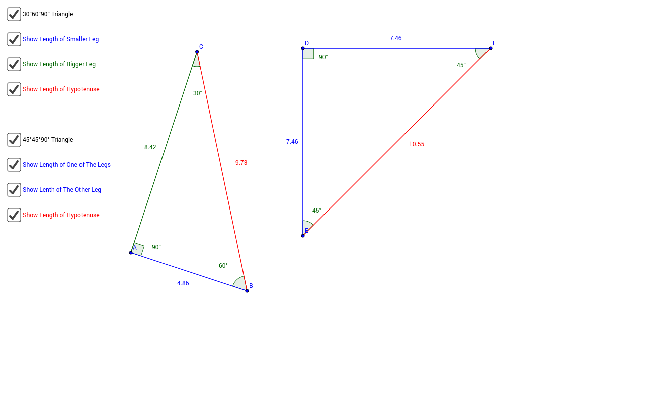 Worksheets 30-60-90 Triangle Worksheet special right triangles geogebra manipulate the vertices of triangle to change side lengths each 45 90 and 30 60 can you make a conjecture about the