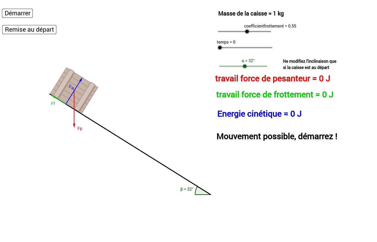 Théorème de l'énergie cinétique plan incliné