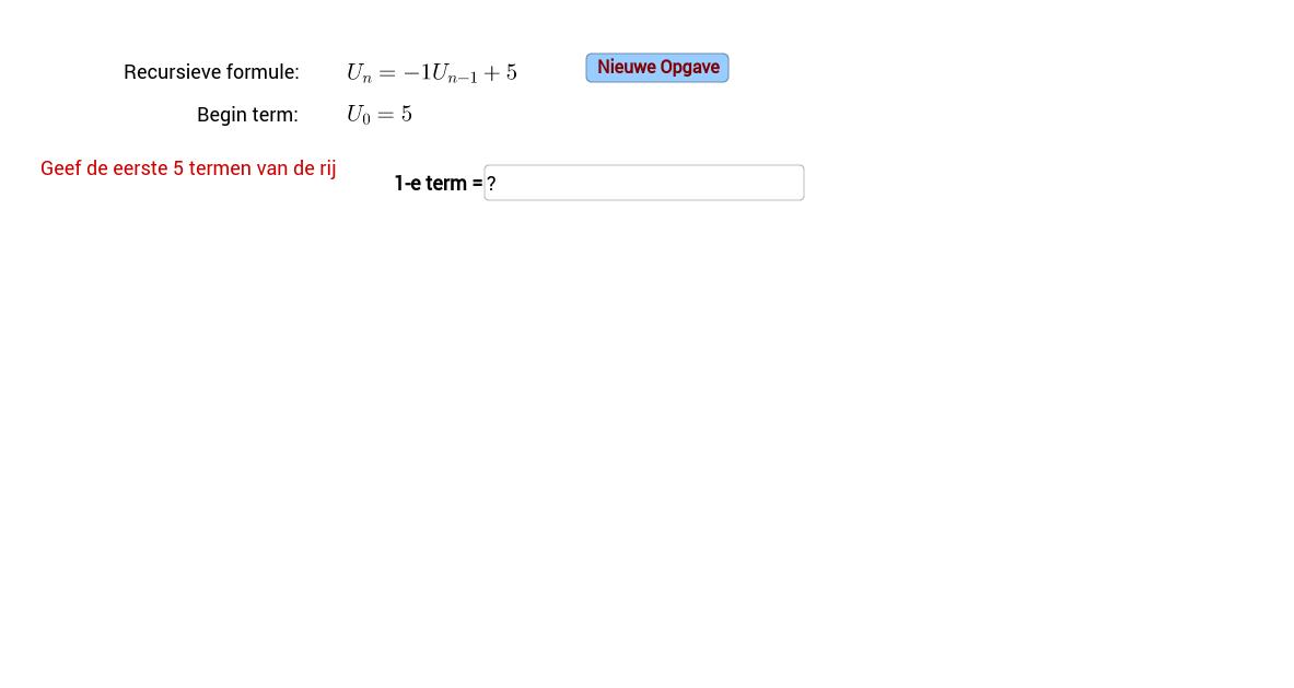Recursieve formule. Invulveld