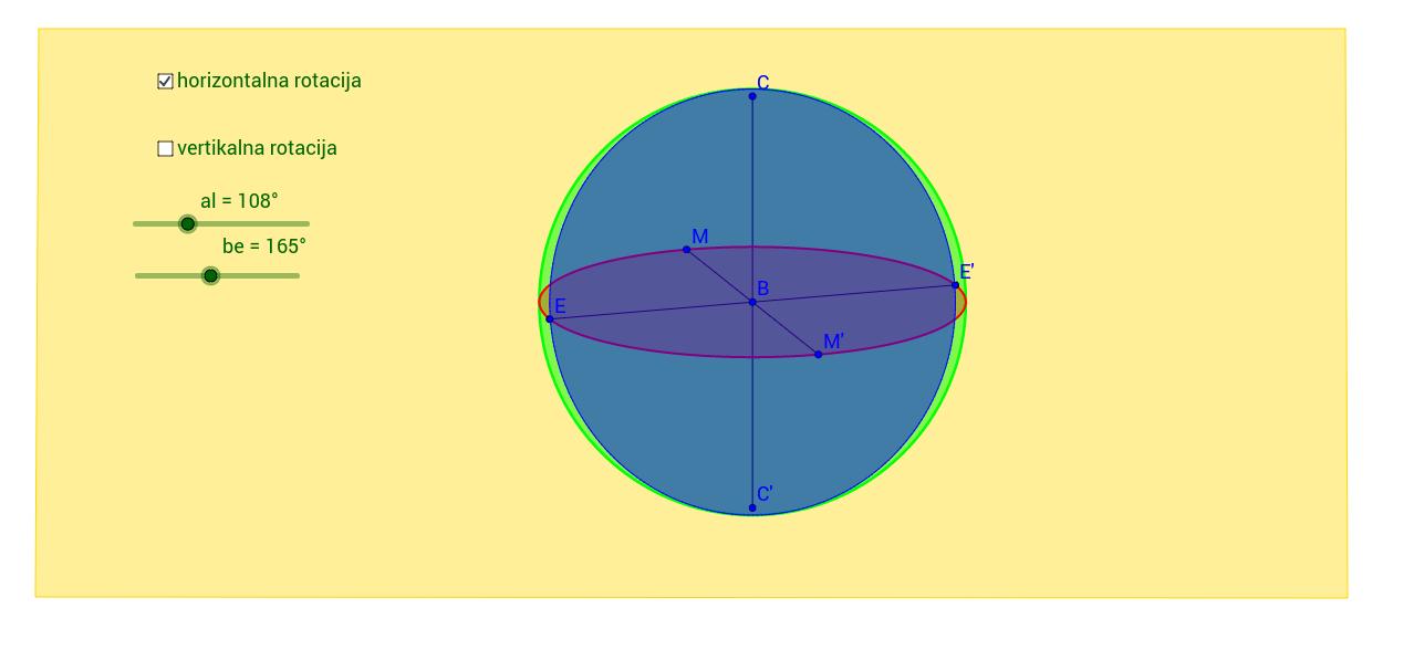 Rotacija lopte po horizontali i vertikali