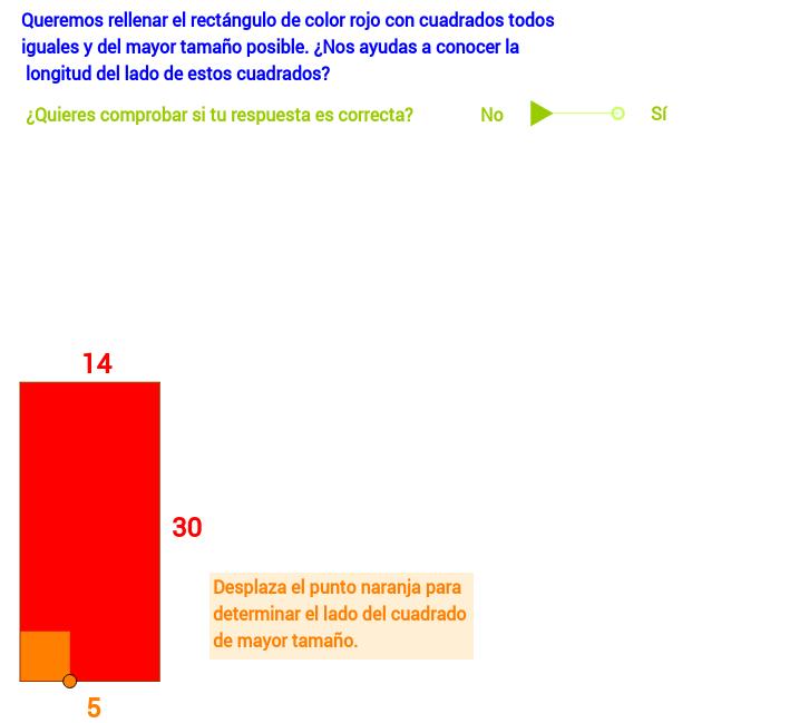 Rellenar un rectángulo con cuadrados de igual tamaño.