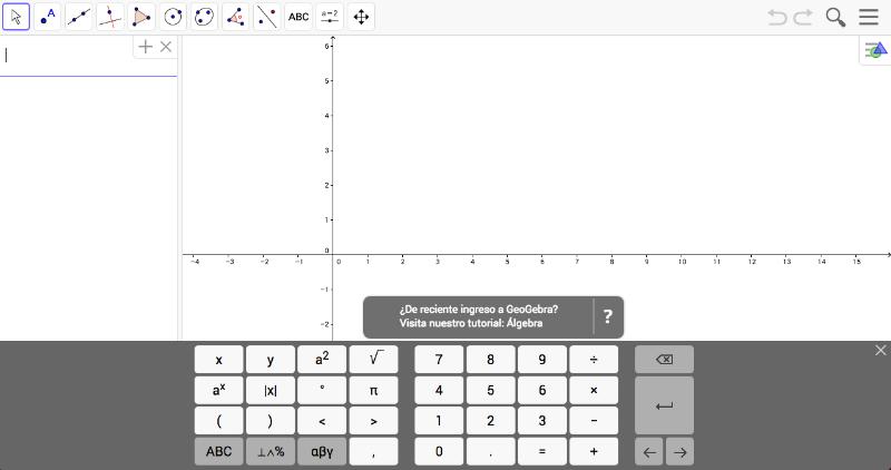 Imagen con el área de trabajo de la creación propia: Álgebra