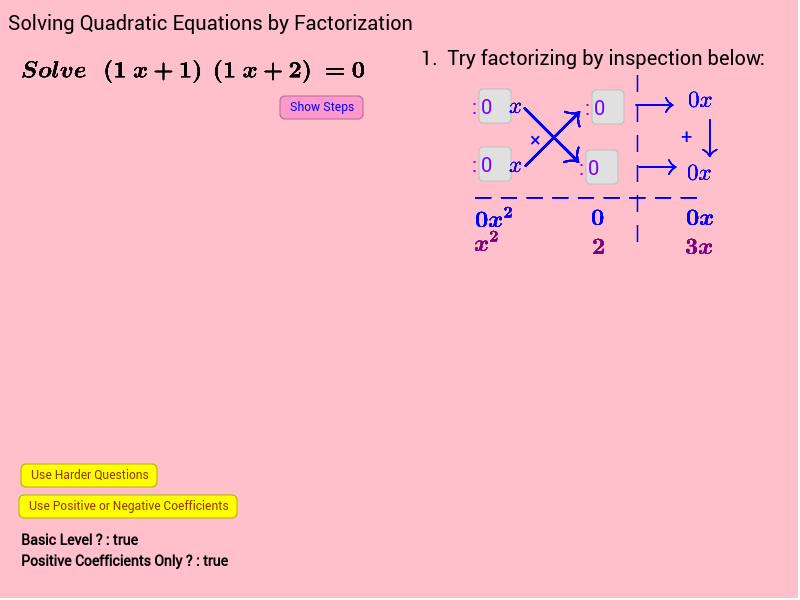 Self Assessment Solve Quadratic Equations by Factorization GeoGebra – Solving Quadratic Equations Worksheet